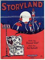 1924 Sheet Music STORYLAND Mushrooms & Fairies ART DECO Rare