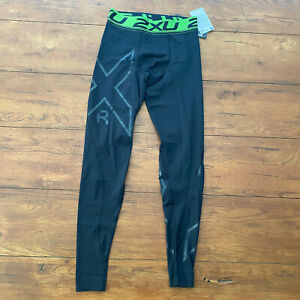 2XU Mens M Muscle Recovery Compression Tights Black Nero Green Refresh Medium