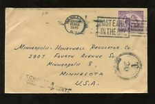 NEW ZEALAND 1946 2d SOLO to MINNESOTA US 4c POSTAGE DUE
