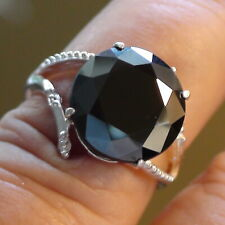 BIG! 6.50 ct BLACK MOISSANITE DIAMOND RING 925 STERLING SILVER.SIZE 6.25,