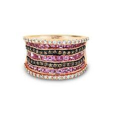 Levian 14K розового золота розовый сапфир шоколадно-коричневый круглый бриллиант коктейльное кольцо