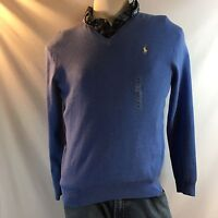 Ralph Lauren Men's Long Sleeve V-Neck Blue Sweater Size Med. NWT $98.50
