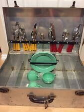 Vintage Picnic set, Aluminum Case, Bakelite Utensils, Plastic Plates and Cups!