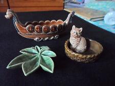 More details for 3 wade pieces, catinbasket,leaf, viking ship. all good.