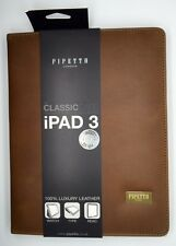 Pipetto London Luxury Genuine Handmade Leather iPad 2 3 Folio Stand Case - Brown