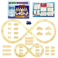 [67 Pieces] Wooden Train Track Set by Tiny Conductors 100% Real Wood