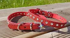 Dog Collar PU Leather Puppy Jack Pug Pom Chi for XS Small Diamante Glitter Bling X-small 21-28cm W 1cm Red
