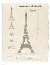 ART PRINT Exposition, Paris 1889 Eiffel Tower 31x25 Yves Poinsot