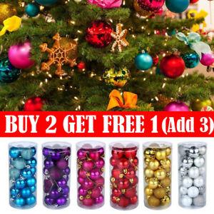 24Pcs Glitter Bright Christmas Tree Balls Ornament Baubles Xmas Party Home Decor