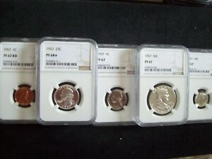 """1957, 5 Piece Franklin Proof Set, Certified """"Proof 67 & 68 Star""""  By NGC  WOW!!"""