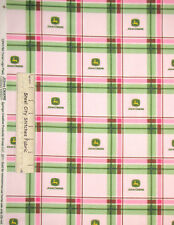 John Deere Ladies Fabric Deer Logo Plaid Pink Green White Farm Fabric ~ Yard