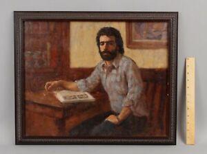 Original LEO NEUFELD American Portrait Interior Oil Painting of Young Man