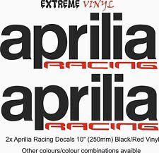 """APRILIA Racing calcomanías de tanque de combustible 2x 4.5"""" Negro/Rojo Vinilo VRS 1000r RS125 TUONO"""