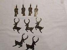 Christmas Ornaments, 4 Faux Gold Drummer and 5 Faux Silver Reindeer