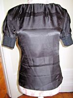 BNWT Pringle of Scotland RRP £495 BLACK silk top BLOUSE PLEAT CUFF NEW