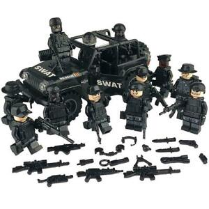 12 Custom LEGO Figures SWAT Minifigures plus Jeep - Army Military Minifigs