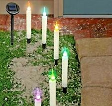 6 SOLAR LED COLOR CHANGING CHRISTMAS CANDLE PATH WAY STAKES SET STRING LIGHTS