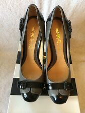 NIB L.A.M.B. Black Gray Kochi Leather Pump Stilettos Heels, Size 9
