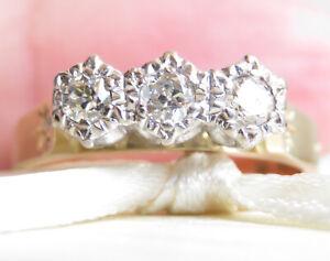 Vintage Genuine 0.30ct Diamond Trilogy Ring 18K Yellow Gold