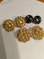 3 Signed Monet Earring Sets - 2 sets - Gold Tone - 1 set Enamel & Gold tone VTG