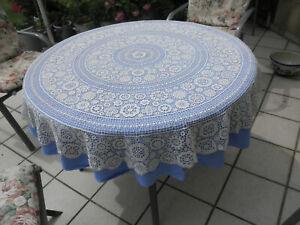 Tischdecke Spitze Plauener Art rund 135 cm + Unterdecke blau + 6pass. Servietten