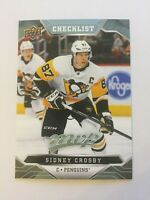 UPPER DECK 2019 - 2020 MVP SIDNEY CROSBY CHECKLIST 1 CARD