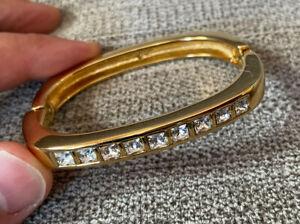 Signed Swarovski Gold-Tone Clear Crystal Hinged Bangle Bracelet - No Reserve!