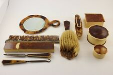 Vintage Vanity Set - Toiletry/Nail Kit- Mirror Comb Brush Containers - 10 pc Lot
