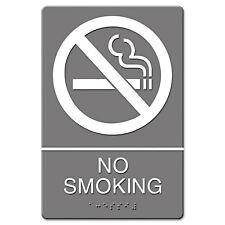 Headline Sign Ada Sign No Smoking Symbol w/Tactile Graphic Molded Plastic 6 x 9