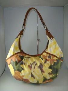 Tignanello Abstract Floral Yellow/MultiColored Canvas Shoulder Bag Handbag Purse