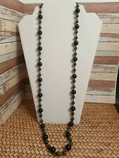 """Long Beaded Necklace Black Onyx & Hematite Beeds Small Bead Spacers 35"""" Healing"""