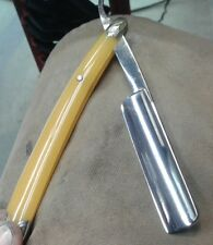 "GORGEOUS VINTAGE GENEVA SS STRAIGHT RAZOR 6/8"" FANCY SCALES, SHAVE READY"