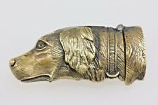 More details for setter dog brass smokers match vesta case fine embossing detail