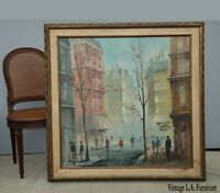 Vintage Mid Century Street Scene Oil Canvas Painting Picture Jose Luis Campuzano