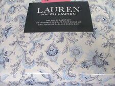 New Ralph Lauren 100% Cotton 4pc White Blue Jacobean Floral Sheet Set - Queen