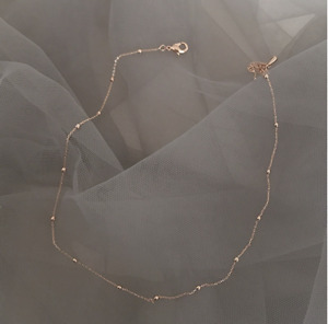 Rose Gold Dainty Satellite Beaded Choker 16in Long Necklace Casual Simple