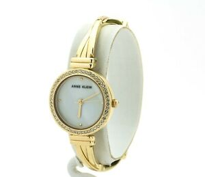 Women's Anne Klein Watch, Embellished Gold Bangle Watch AK-2878MPGB, New