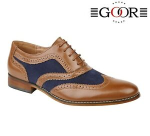 BOYS FORMAL SMART Wedding Lace Up Tan Navy Brogues Shoes Size 11 12 13 1 2 3 4 5