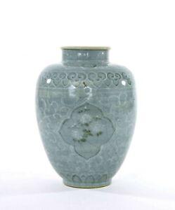Late Joseon Dynasty Korean Celadon Crackle Glaze Vase with Crane