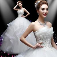 Women dress Cathedral Wedding Rhinestone Floral Lace Strapless Bridal Red White