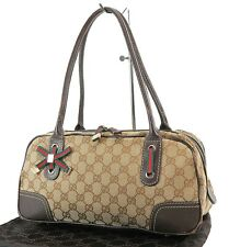 Authentic GUCCI Brown GG Canvas and Leather Shoulder Tote Bag #36900