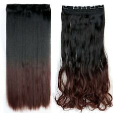 US Real Long 100% Natural Extension Clip in Human HAIR EXTENTION Ombre Fake Hair