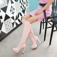 Women Platform Tassel Chunky High Heels Lace Up Thigh Over The Knee Boots Shoes