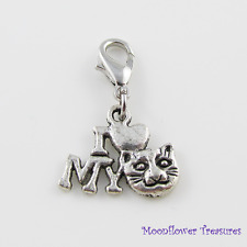 Tibetan Silver I Love My Cat Charm fit Clip On Charm Bracelet