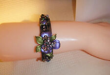 Open cuff with crystal  & purple flowers