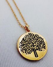 Tree of life necklace gold tone cable chain