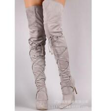 Women Pointy Toe High Heels Stiletto Suede Lace Up Nightclub Over the Knee Boots