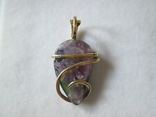 14k Yellow Gold Brazilian Watermelon Tourmaline Hand Forged Pendant