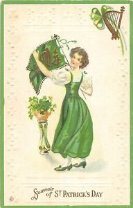 G36/ St Patrick's Day Holiday Postcard c1910 Pretty Woman Flag Harp 7