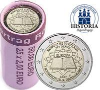 Original 2 Euro Rolle Römische Verträge 2007 Deutschland 25 Münzen mit Mzz F